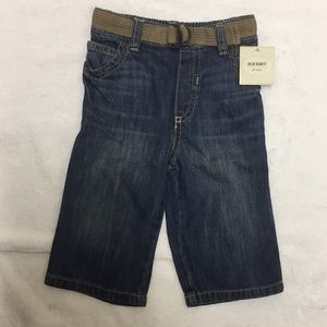 NWT Old Navy Belted Whiskered Jeans 6-12 months
